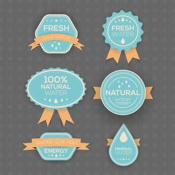 drinking and mineral water labels on grey background - vector gratuit #130756