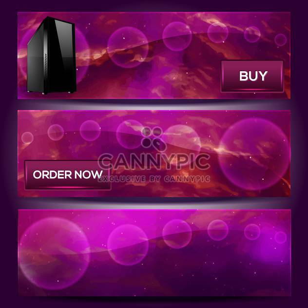 Vector violet banners with computer - Free vector #130796