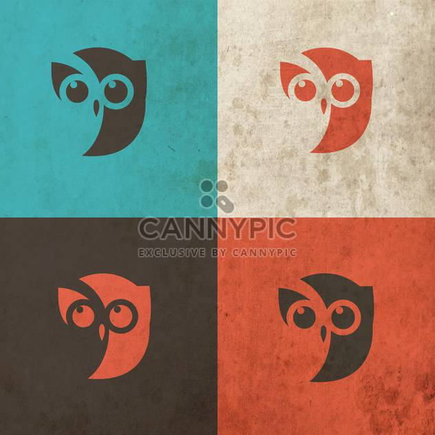 Owl head icon art illustration - Free vector #130866