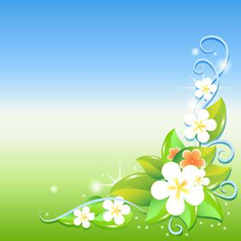 Greeting card with flowers vector illustration - Free vector #130876