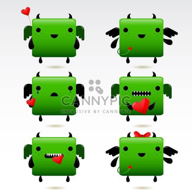 Cartoon Fett grün-Feuer-Drache-Icon-set - Kostenloses vector #130916
