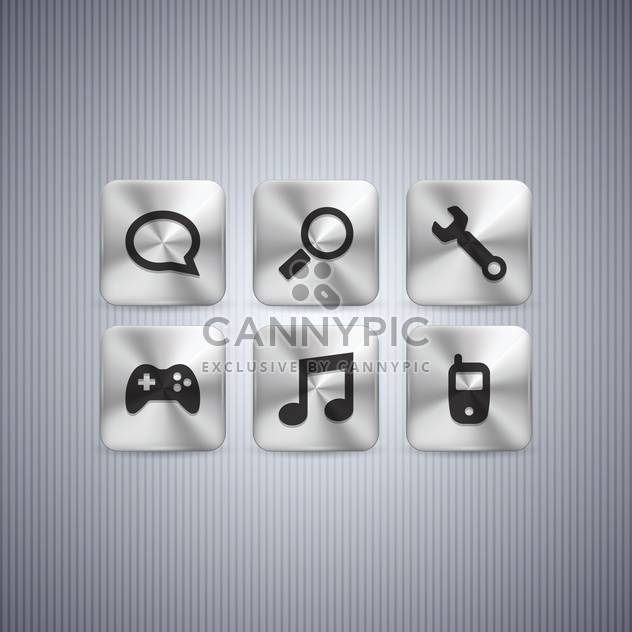 Different web buttons set on grey background - Free vector #130976