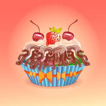 Vector illustration of cake with cherry and strawberry - vector gratuit #131096