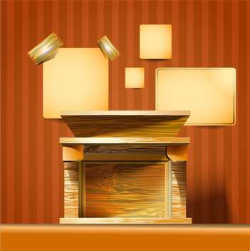Retro style fireplace in the room vector illustration - Free vector #131236