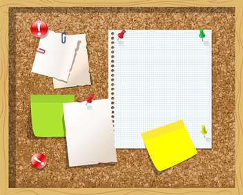 Corkboard with paper notes and memo stickers vector Illustration - Free vector #131286
