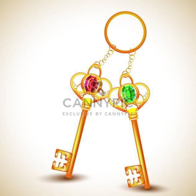 Vintage golden keys on ring on light background - Free vector #131306