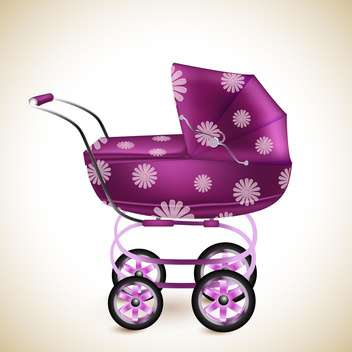 Pink baby buggy on light background - Free vector #131506