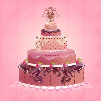 Cute and tasty birthday cake illustration - Free vector #131546