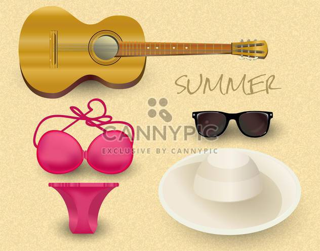 Vector summer set with guitar, sunglasses, hat and swim suit - Free vector #131756