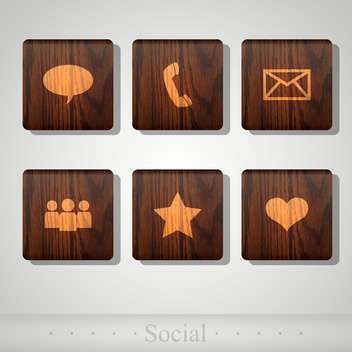 Vector social wooden icons for web design - Free vector #131796