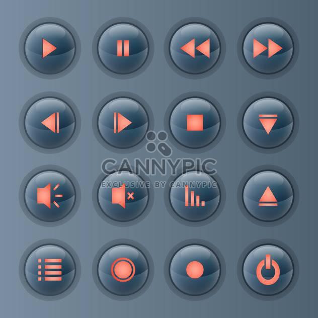 Vektor Medien Spieler Icons auf grauen Hintergrund festlegen - Free vector #131806