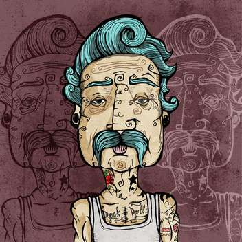 Portrait of a man with mustaches and tattoos vector illustration. - vector #131846 gratis