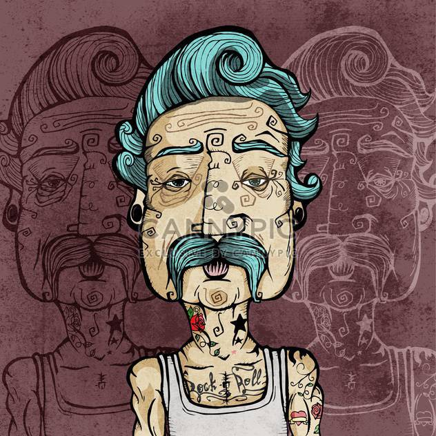 Portrait of a man with mustaches and tattoos vector illustration. - Free vector #131846