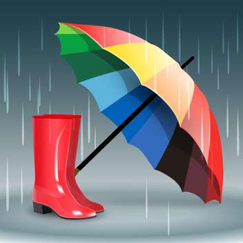 Rubber boots and umbrella on grey background with rain - бесплатный vector #131856