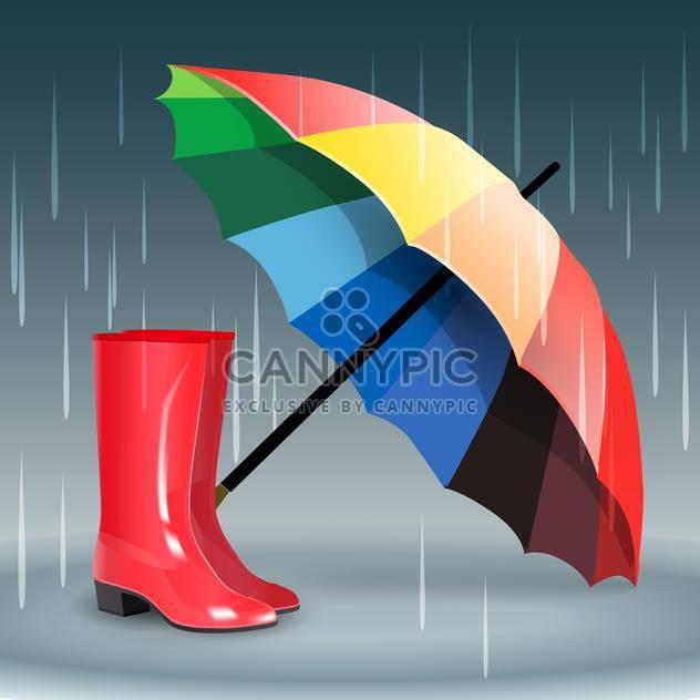 Gummistiefel und Regenschirm auf grauen Hintergrund mit Regen - Kostenloses vector #131856