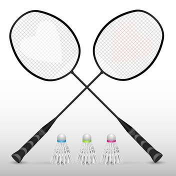 Silhouettes of badminton rackets in vector - Free vector #131866