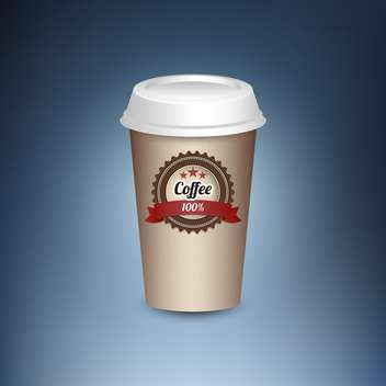 Paper cup of hot coffee standing on blue background - vector gratuit #131946