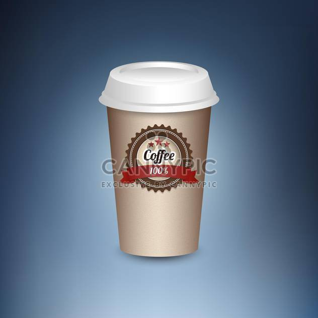 Paper cup of hot coffee standing on blue background - Free vector #131946