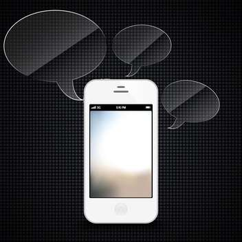 Smartphone with speech bubbles hovering on black background - vector gratuit #132046
