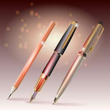 Pens and pencil vector illustration on bokeh background - vector gratuit #132056