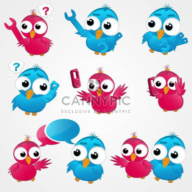 Pink and blue funny birds ,vector illustration - Free vector #132176
