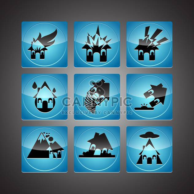 Disasters icons set,vector illustration - Free vector #132206