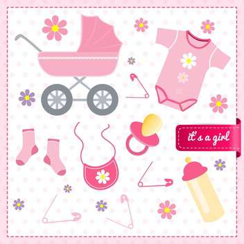 Baby girl announcement card, vector illustration - vector #132236 gratis