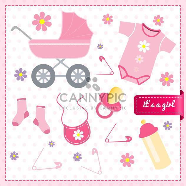 Baby Mädchen Ankündigung Karte, Vektor-illustration - Kostenloses vector #132236