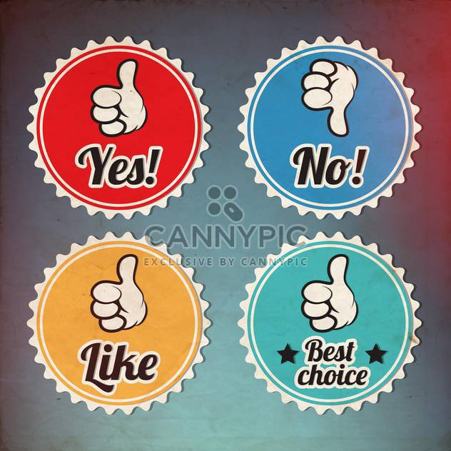 Vintage colorful lables with thumbs up and down,vector illustration - Free vector #132266