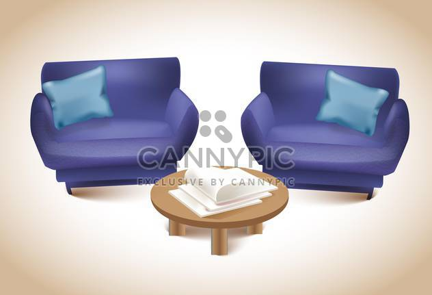 Two purple sofas with journal table ,vector illustration - Free vector #132286