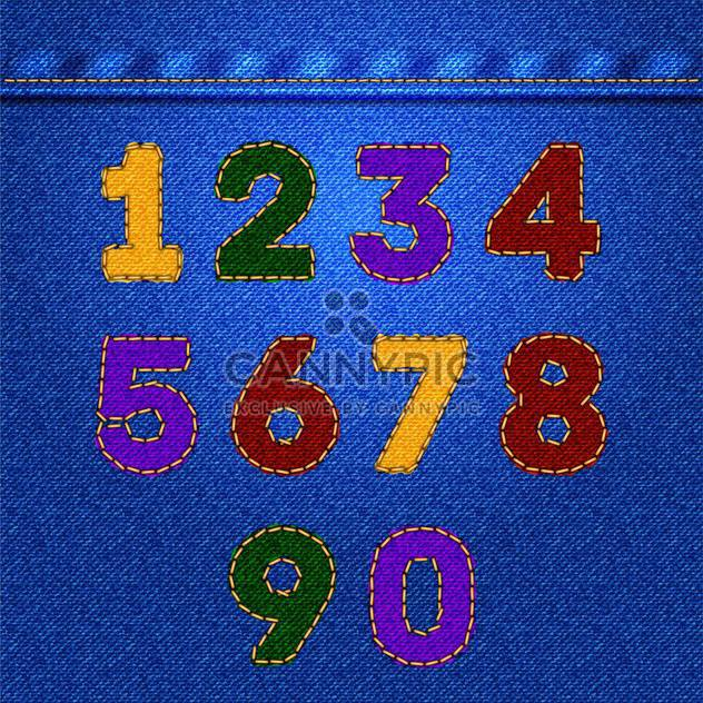 Vector colorful numbers on jeans texture,vector illustration - Free vector #132356