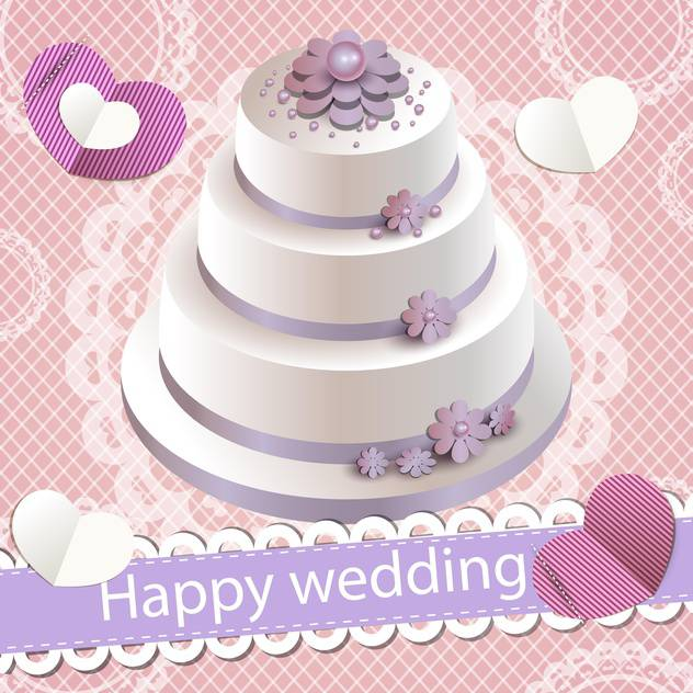 happy wedding invitation with party cake - vector gratuit #132526