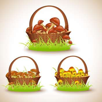 vector baskets set with mushrooms - Free vector #132646