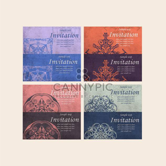 set of retro invitation cards - Free vector #132736