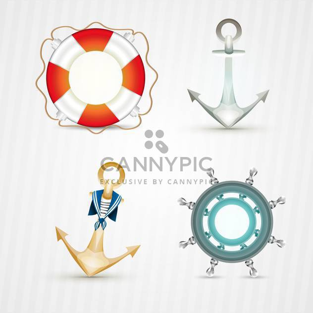 vector nautical icons set - Free vector #133106