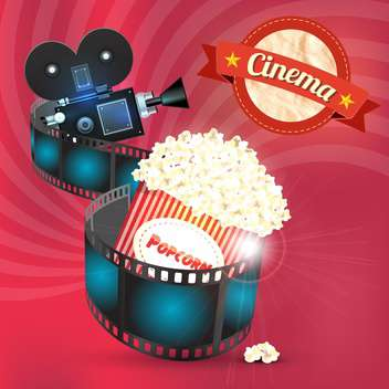 cinema popcorn and film reel - vector gratuit #133126