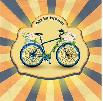 vintage bicycle with flowers in basket - vector gratuit #133336