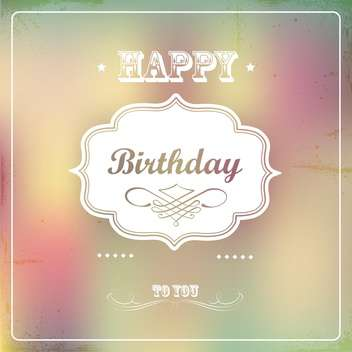 vintage happy birthday card - vector gratuit #133386