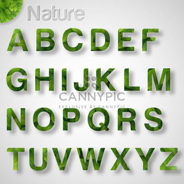green leaf font alphabet letters - Free vector #133406