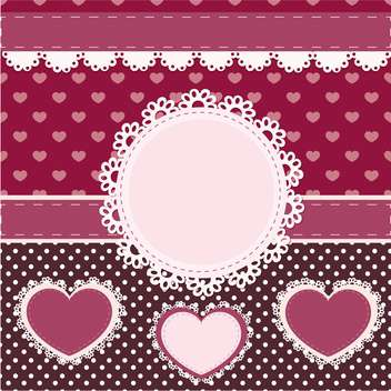 vector set of pink frames with hearts - vector gratuit #133446
