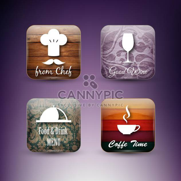 set of restaurant menu icons - Free vector #133556