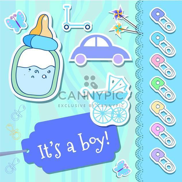 Vektor Baby junge Grußkarte - Kostenloses vector #133726