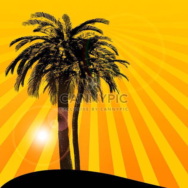 orange sunset background with palm tree - Free vector #133816