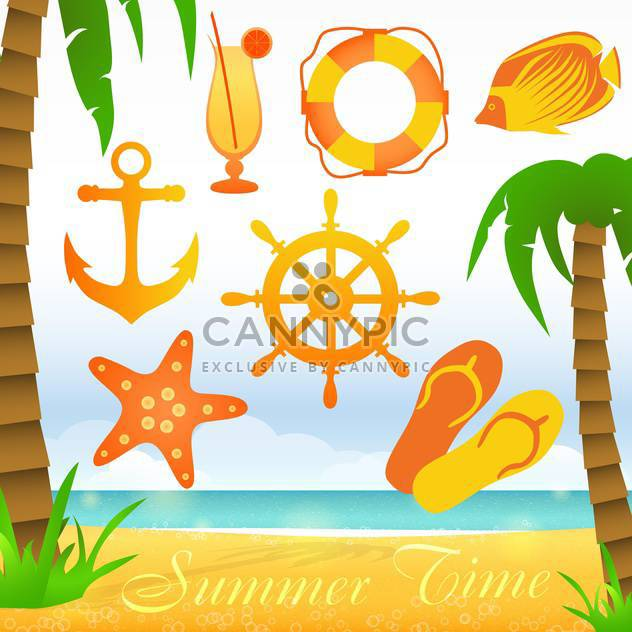 summer time collection elements - Free vector #133856