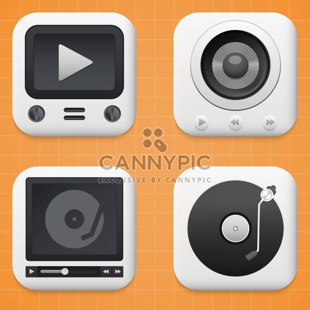 media player buttons set - Free vector #134016