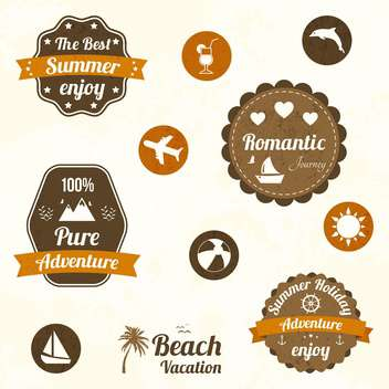 retro travel labels set - vector gratuit #134046