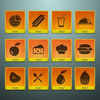 fast food icons set - vector gratuit #134126