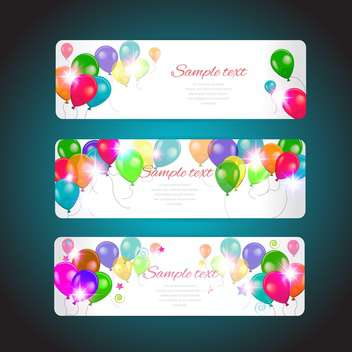 happy holiday cards set with balloons - vector #134526 gratis