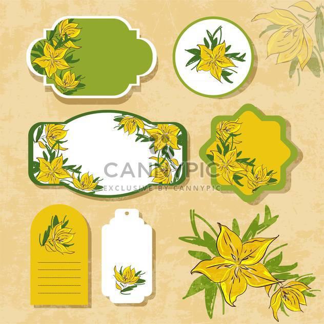 Jahrgang Etiketten mit Blumen - Kostenloses vector #134726