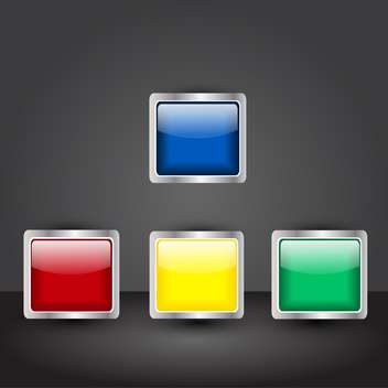 vector set of square shiny buttons - Free vector #134776
